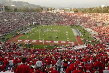 3 Jan 2002:  A general view of the Rose Bowl as a sea of Nebraska fans wearing red find their seats before the start of during the Rose Bowl National Championship game against Miami at the Rose Bowl in Pasadena, California.  Miami won the game 37-14, winn