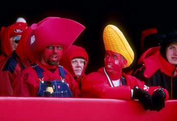 15 Nov 1997: Nebraska fans support their team during the Cornhuskers 77-14 win over Iowa State at Memorial Stadium in Lincoln, Nebraska.