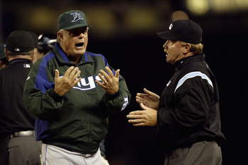 SEATTLE - JUNE 4:  Lou Piniella #14 of the Tampa Bay Devil Rays argues with umpire Terry Craft #40 during the game with the Seattle Mariners on June 4 2005 at Safeco Field in Seattle Washington. The Mariners won 6-5.  (Photo by Otto Greule Jr/Getty Images