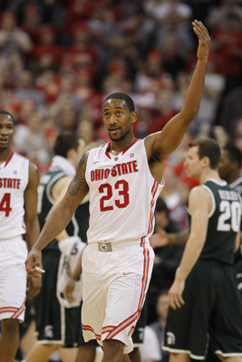 COLUMBUS, OH - FEBRUARY 15:  David Lighty #23 of the Ohio State Buckeyes reacts while playing the Michigan State Spartans on February 15, 2011 at Value City Arena in Columbus, Ohio.  (Photo by Gregory Shamus/Getty Images)
