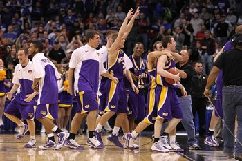 OKLAHOMA CITY - MARCH 20:  The Northern Iowa Panthers celebrate after they won 69-67 against the Kansas Jayhawks during the second round of the 2010 NCAA men's basketball tournament at Ford Center on March 20, 2010 in Oklahoma City, Oklahoma.  (Photo by R
