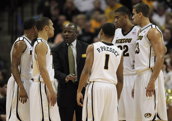 COLUMBIA, MO - DECEMBER 08:  Head coach Mike Anderson of the Missouri Tigers in action during the game against the Vanderbilt Commodores on December 8, 2010 at Mizzou Arena in Columbia, Missouri.  (Photo by Jamie Squire/Getty Images)