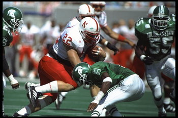 9 Sep 1995:  Fullback Jeff Makovicka of the Nebraska Cornhuskers carries the football during the Cornhuskers 50-10 victory over the Michigan State Spartans at Spartan Stadium in East Lansing, Michigan.  Mandatory Credit:  Matthew Stockman/Allsport