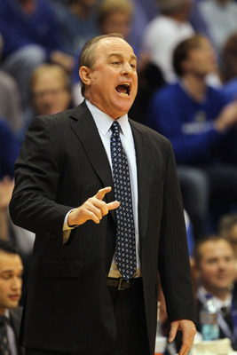LAWRENCE, KS - DECEMBER 02:  Head coach Ben Howland of the UCLA Bruins in action during the game against the Kansas Jayhawks on December 2, 2010 at Allen Fieldhouse in Lawrence, Kansas.  (Photo by Jamie Squire/Getty Images)