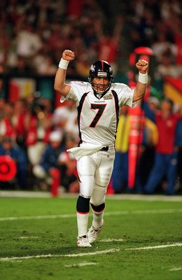 31 Jan 1999:   John Elway #7 of the Denver Broncos celebrates on the field during the Superbowl XXXIII against the Atlanta Falcons at the Pro Player Stadium in Miami, Florida. The Broncos defeated the Falcons 34-19. Mandatory Credit: Al Bello  /Allsport
