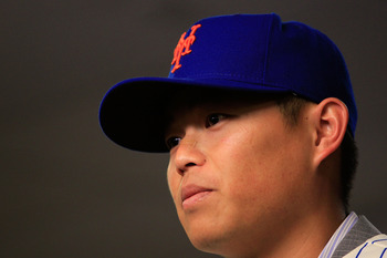 NEW YORK, NY - JANUARY 26:  Chin-lung Hu talks to the media during a press conference to announce his signing to the New York Mets at Citi Field on January 26, 2011 in the Flushing neighborhood, of the Queens borough of New York City.  (Photo by Chris Tro