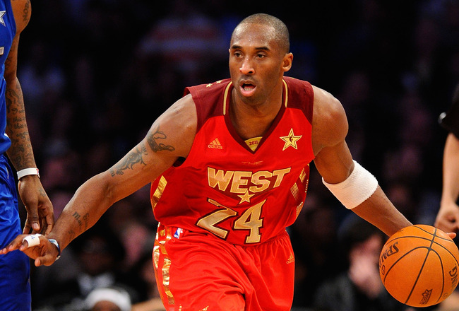 LOS ANGELES, CA - FEBRUARY 20:  Kobe Bryant #24 of the Los Angeles Lakers and the Western Conference moves the ball in the 2011 NBA All-Star Game at Staples Center on February 20, 2011 in Los Angeles, California. NOTE TO USER: User expressly acknowledges