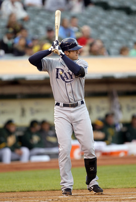 OAKLAND, CA - AUGUST 20:  Evan Longoria #3 of the Tampa Bay Rays bats against the Oakland Athletics at the Oakland-Alameda County Coliseum  on August 20, 2010 in Oakland, California.  (Photo by Ezra Shaw/Getty Images)