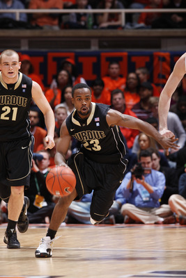 CHAMPAIGN, IL - FEBRUARY 13: Lewis Jackson #23 of the Purdue Boilermakers leads a fast break against the Illinois Fighting Illini at Assembly Hall on February 13, 2011 in Champaign, Illinois. Purdue defeated Illinois 81-70. (Photo by Joe Robbins/Getty Ima