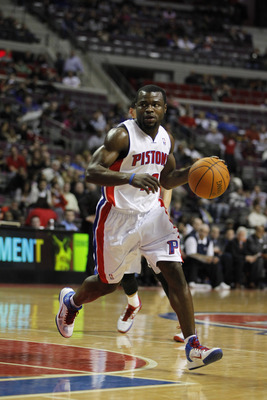 AUBURN HILLS, MI - FEBRUARY 11:  Will Bynum #12 of the Detroit Pistons controls the ball while playing the Miami Heat at The Palace of Auburn Hills on February 11, 2011 in Auburn Hills, Michigan.  (Photo by Gregory Shamus/Getty Images)