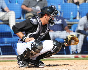 DUNEDIN, FL - FEBRUARY 26:  Catcher J. P. Arencibia #9 of the Toronto Blue Jays catches a pitch against the Detroit Tigers February 26, 2011 at Florida Auto Exchange Stadium in Dunedin, Florida.  (Photo by Al Messerschmidt/Getty Images)
