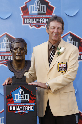 CANTON, OH - AUGUST 7: Dick LeBeau poses with his bust during the 2010 Pro Football Hall of Fame Enshrinement Ceremony at the Pro Football Hall of Fame Field at Fawcett Stadium on August 7, 2010 in Canton, Ohio. (Photo by Joe Robbins/Getty Images)