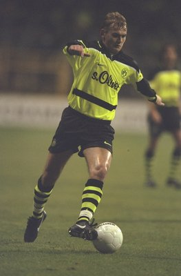5 Nov 1997:  Vladimir But of Borussia Dortmund in action during the UEFA Champions League match against Parma at the Westfalenstadion in Dortmund, Germany. Borussia Dortmund won 2-0. \ Mandatory Credit: Stu Forster /Allsport