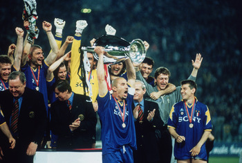 Juventus captain Gianluca Vialli holds the cup aloft after his team beat AFC Ajax to win the UEFA Champions League Final at the Stadio Olimpico, Rome, 22nd May 1996. The match ended in a 1-1 draw after extra time with Juventus winning 4-2 on penalties. (P