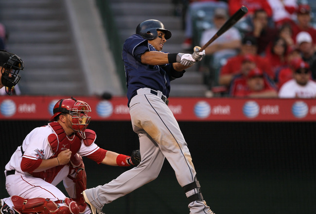 ANAHEIM, CA - SEPTEMBER 08:  Michael Brantley #23 of the Cleveland Indian bats against the Los Angeles Angels of Anaheim on September 8, 2010 at Angel Stadium in Anaheim, California.   The Angels won 4-3 in 16 innings.  (Photo by Stephen Dunn/Getty Images