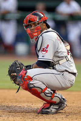 ARLINGTON, TX - JULY 05:  Catcher Carlos Santana #41 of the Cleveland Indians on July 5, 2010 at Rangers Ballpark in Arlington, Texas.  (Photo by Ronald Martinez/Getty Images)