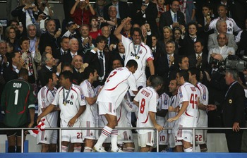 ATHENS, GREECE - MAY 23:  Milan players celebrate following their 2-1 victory during the UEFA Champions League Final match between Liverpool and AC Milan at the Olympic Stadium on May 23, 2007 in Athens, Greece.  (Photo by Jamie McDonald/Getty Images)