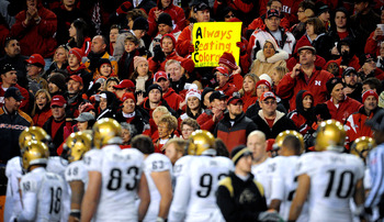 LINCOLN, NE - NOVEMBER 26: Nebraska fans display signs during the second half of their game at Memorial Stadium on November 26, 2010 in Lincoln, Nebraska. Nebraska defeated Colorado 45-17. (Photo by Eric Francis/Getty Images)