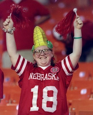 31 Dec 1996:  A Nebraska Cornhuskers fan celebrates during the Orange Bowl against the Virginia Tech Hokies at the Orange Bowl in Miami, Florida.  Nebraska won the game, 41-21. Mandatory Credit: Andy Lyons  /Allsport