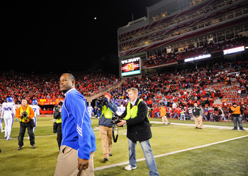 LINCOLN, NE - NOVEMBER 13: Coach Turner Gill or the Kansas Jawhawks takes one last look at Memorial Stadium after their game against the Nebraska Cornhuskers on November 13, 2010 in Lincoln, Nebraska. Nebraska Defeated Kansas 20-3. Gill is both a former p