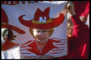 1 Jan 1990:  A Nebraska fan makes a face during the Fiesta Bowl  that matched the Florida State Seminoles with the Nebraska Cornhuskers at the Fiesta Bowl in Sun Devil Stadium in Tempe, Arizona.  Florida State won the game, 41- 17.  Mandatory Credit: Step