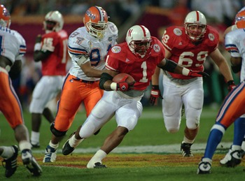 2 Jan 1996:  Running back Lawrence Phillips #1 of the University of Nebraska carries the football during the Cornhuskers Fiesta Bowl National Championship win over the University of Florida at Sun Devil Stadium in Tempe, Arizona.   Mandatory Credit: Mike