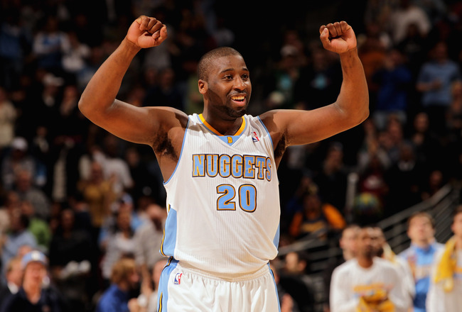 DENVER, CO - FEBRUARY 24:  Raymond Felton #20 of the Denver Nuggets reacts in the fourth quarter against the Boston Celtics during NBA action at the Pepsi Center on February 24, 2011 in Denver, Colorado. The Nuggets defeated the Celtics 89-75. NOTE TO USE