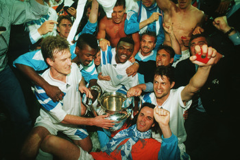 May 1993:  Marseille players celebrate after their victory over AC Milan in the European Cup Final played at the Olympic Stadium, Munich. Marseille won the match 1-0. Mandatory Credit: Allsport UK/Getty Images