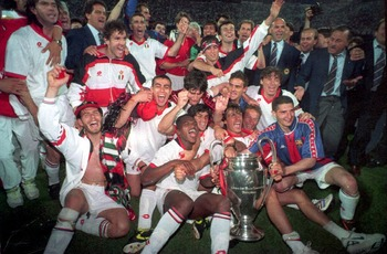18 MAY 1994:  AC MILAN OF ITALY CELEBRATE THEIR VICTORY OVER BARCELONA OF SPAIN IN THE EUROPEAN CUP FINAL IN ATHENS, GREECE. Mandatory Credit: Shaun Botterill/ALLSPORT