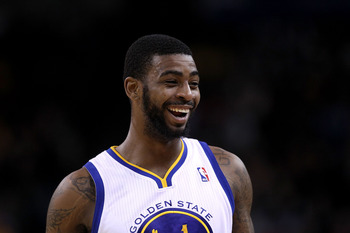 OAKLAND, CA - JANUARY 24:  Dorell Wright #1 of the Golden State Warriors smiles during their game against the San Antonio Spurs at Oracle Arena on January 24, 2011 in Oakland, California.  NOTE TO USER: User expressly acknowledges and agrees that, by down