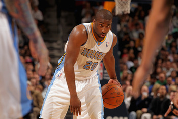 DENVER, CO - FEBRUARY 24:  Raymond Felton #20 of the Denver Nuggets controls the ball against the Boston Celtics during NBA action at the Pepsi Center on February 24, 2011 in Denver, Colorado. The Nuggets defeated the Celtics 89-75. NOTE TO USER: User exp