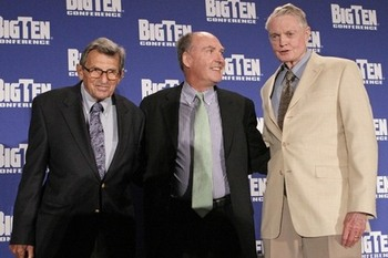 Penn State Head Coach Joe Paterno, Big Ten Commissioner Jim Delany and Nebraska Athletic Director Tom Osborne