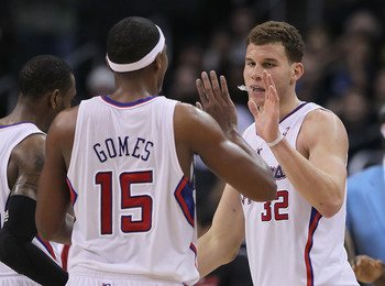 LOS ANGELES, CA - DECEMBER 20:  Blake Griffin #32 of the Los Angeles Clippers receives a high five from teammate Ryan Gomes #15 during the second half against the Minnesota Timberwolves at Staples Center on December 20, 2010 in Los Angeles, California. Th