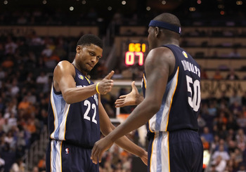 PHOENIX - DECEMBER 08:  Rudy Gay #22 of the Memphis Grizzlies high fives teammate Zach Randolph #50 after scoring against the Phoenix Suns during the NBA game at US Airways Center on December 8, 2010 in Phoenix, Arizona. The Grizzlies defeated the Suns 10
