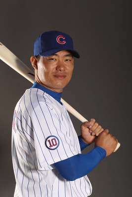 MESA, AZ - FEBRUARY 22:  Kosuke Fukodome #1 of the Chicago Cubs poses for a portrait during media photo day at Finch Park on February 22, 2011 in Mesa, Arizona.  (Photo by Ezra Shaw/Getty Images)