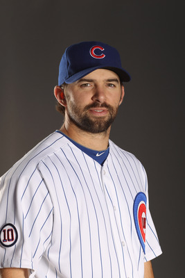 MESA, AZ - FEBRUARY 22:  Blake DeWitt #9 of the Chicago Cubs poses for a portrait during media photo day at Finch Park on February 22, 2011 in Mesa, Arizona.  (Photo by Ezra Shaw/Getty Images)