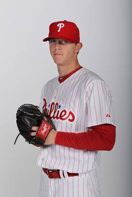 CLEARWATER, FL - FEBRUARY 22:  Justin De Fratus #72 of the Philadelphia Phillies poses for a photo during Spring Training Media Photo Day at Bright House Networks Field on February 22, 2011 in Clearwater, Florida.  (Photo by Nick Laham/Getty Images)