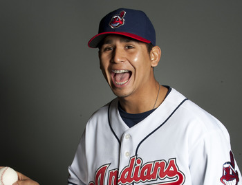 GOODYEAR, AZ - FEBRUARY 22: Carlos Carrasco #59 of the Cleveland Indians poses during their photo day at the Cleveland Indians Spring Training Complex on February 22, 2011 in Goodyear, Arizona. (Photo by Rob Tringali/Getty Images)