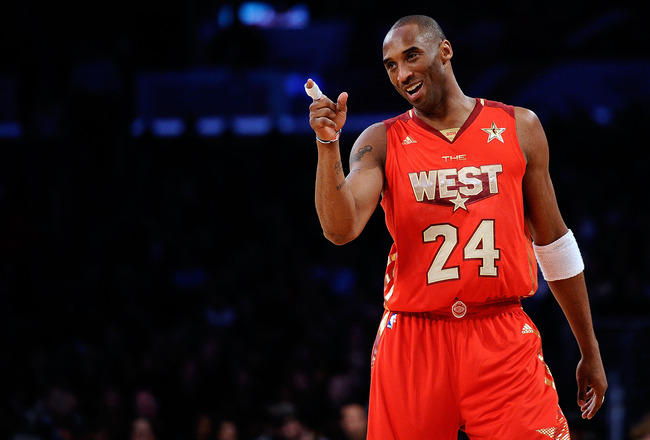 LOS ANGELES, CA - FEBRUARY 20:  Kobe Bryant #24 of the Los Angeles Lakers and the Western Conference points in the 2011 NBA All-Star Game at Staples Center on February 20, 2011 in Los Angeles, California. NOTE TO USER: User expressly acknowledges and agre