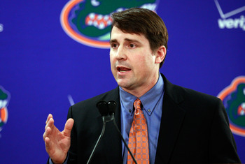 GAINESVILLE, FL - DECEMBER 14:  Former defensive coordinator for the University of Texas, Will Muschamp speaks to the media after being introduced as the head coach of the University of Florida on December 14, 2010 in Gainesville, Florida.  Muschamp is re