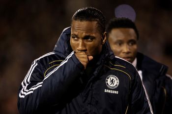 LONDON, ENGLAND - FEBRUARY 14:  Didier Drogba of Chelsea makes his way to the bench prior to the Barclays Premier League match between Fulham and Chelsea at Craven Cottage on February 14, 2011 in London, England.  (Photo by Scott Heavey/Getty Images)