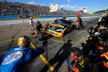 AVONDALE, AZ - FEBRUARY 27:  Ryan Newman, driver of the #39 Tornados Chevrolet, makes a pit stop during the NASCAR Sprint Cup Series Subway Fresh Fit 500 at Phoenix International Raceway on February 27, 2011 in Avondale, Arizona.  (Photo by Jared C. Tilto
