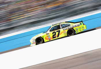 AVONDALE, AZ - FEBRUARY 27:  Paul Menard, driver of the #27 Menards Chevrolet, races during the NASCAR Sprint Cup Series Subway Fresh Fit 500 at Phoenix International Raceway on February 27, 2011 in Avondale, Arizona.  (Photo by Christian Petersen/Getty I