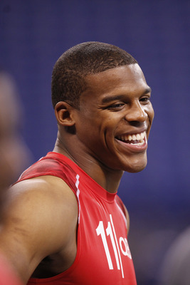INDIANAPOLIS, IN - FEBRUARY 27:  Cam Newton looks on during the 2011 NFL Scouting Combine at Lucas Oil Stadium on February 27, 2011 in Indianapolis, Indiana. (Photo by Joe Robbins/Getty Images)