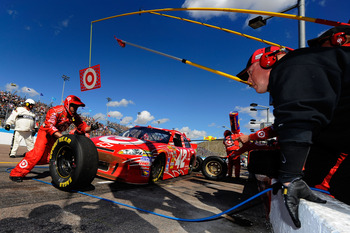 AVONDALE, AZ - FEBRUARY 27:  Juan Pablo Montoya, driver of the #42 Target Chevrolet, makes a pit stop during the NASCAR Sprint Cup Series Subway Fresh Fit 500 at Phoenix International Raceway on February 27, 2011 in Avondale, Arizona.  (Photo by Jared C.