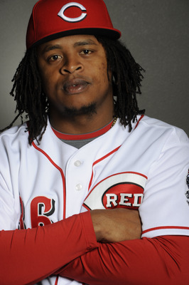 GOODYEAR, AZ - FEBRUARY 20: Edinson Volquez #36 of the Cincinnati Reds poses during the Cincinnati Reds photo day at the Cincinnati Reds Spring Training Complex on February 20, 2011 in Goodyear, Arizona. (Photo by Rob Tringali/Getty Images)