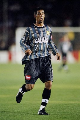 20 Mar 1999:  Danny Pena #2 of the Los Angeles Galaxy runs down the field during the game against the Colorado Rapids at the Rose Bowl in Pasadena, California. The Galaxy defeated the Rapids 2-1. Mandatory Credit: Aubrey Washington  /Allsport