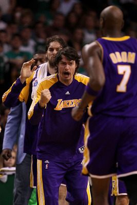BOSTON - JUNE 13:  Adam Morrison #6 of the Los Angeles Lakers celebrates after a play against the Boston Celtics during Game Five of the 2010 NBA Finals on June 13, 2010 at TD Garden in Boston, Massachusetts. The Celtics won 92-86. NOTE TO USER: User expr