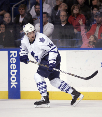 TAMPA, FL - JANUARY 25: Clarke MacArthur #16 of the Toronto Maple Leafs skates against the Tampa Bay Lightning at St. Pete Times Forum on January 25, 2011 in Tampa, Florida. The Lightning defeated the Leafs 2-0. (Photo by Justin K. Aller/Getty Images)