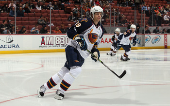 ANAHEIM, CA - OCTOBER 15:  Fredrik Modin #19 of the Atlanta Thrashers skates prior to the start of the game against the Anaheim Ducks at Honda Center on October 15, 2010 in Anaheim, California.  (Photo by Jeff Gross/Getty Images)